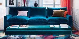 Canapé Bleu Velours : marier les couleurs des meubles et de la petite d co au salon marie claire ~ Teatrodelosmanantiales.com Idées de Décoration