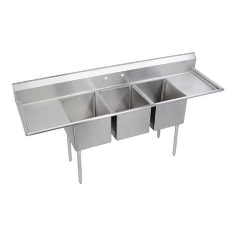 three compartment kitchen sink elkay e3c16x20 2 18x 88 in 3 compartment sink etundra 6107