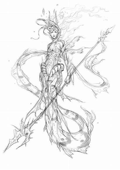 Mermaid Concept Deviantart Drawings Muju Coloring Drawing