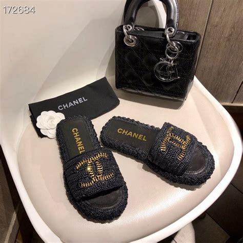 chanel woven cc logo sandals rattanlambskin leather springsummer  collection black