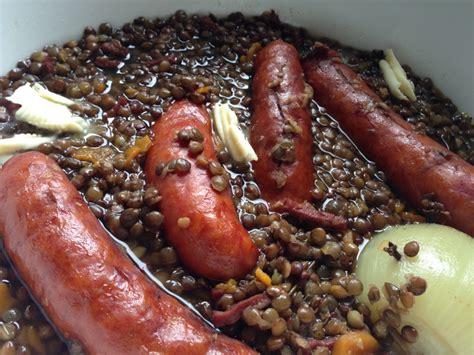 lentille cuisine recette saucisses lentilles papa en cuisine