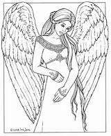 Coloring Angel Pages Adults sketch template