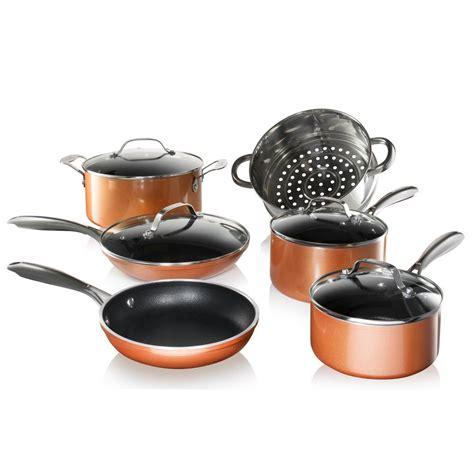 gotham steel  piece cast textured aluminum ceramic nonstick cookware set  copper