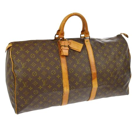 louis vuitton keepall monogram leather weekendtravel bag