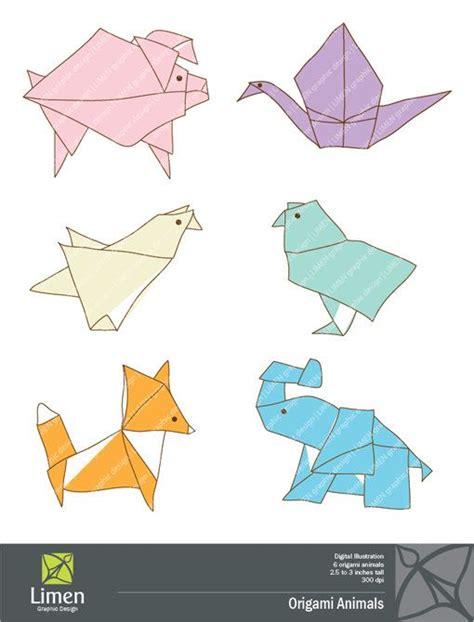 origami animals clip art digital illustration personal