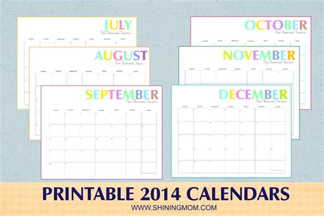 Choose from over a hundred calendars. Free Printable: Colorful 2014 Calendars by Shining Mom