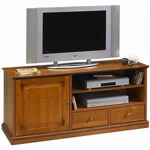 Grand Meuble Tv : grand meuble banc tv sur roulettes plaqu merisier beaux meubles pas chers ~ Teatrodelosmanantiales.com Idées de Décoration