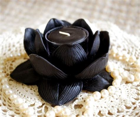 lotus candle holder beeswax lotus flower candle holder in black with 2