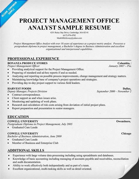 pmo analyst resume resumecompanion resume sles