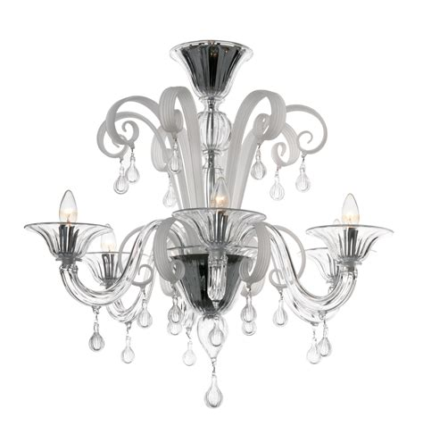 modern murano chandelier s5030l6 clear white glass murano