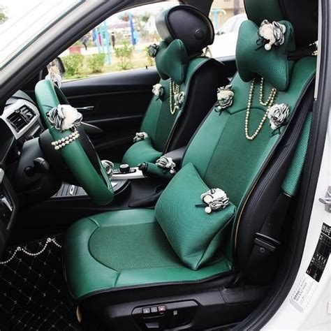 emerald car seat covers  bling pearl chain  flowers