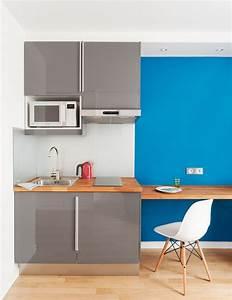 Kitchenette Pour Bureau : cuisine gris laqu abstrakt ik a avec un frigo encastr ~ Premium-room.com Idées de Décoration