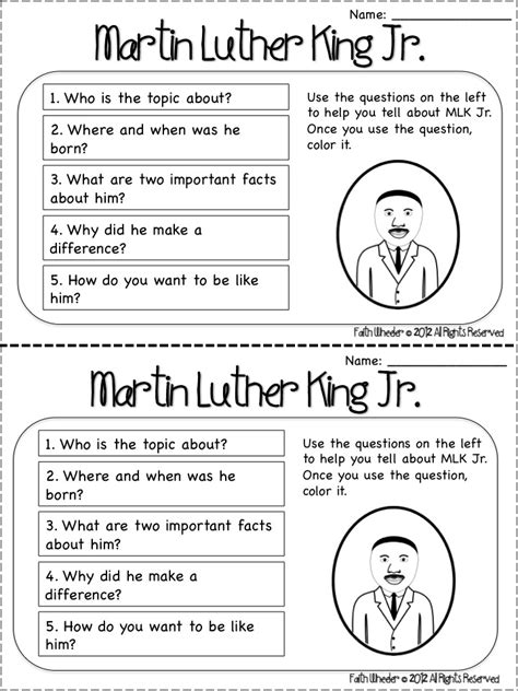 dr martin luther king jr worksheets 1st grade worksheets