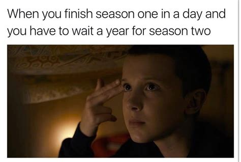 Stranger Things Memes - stranger things meme finish season one wait for season two on bingememe