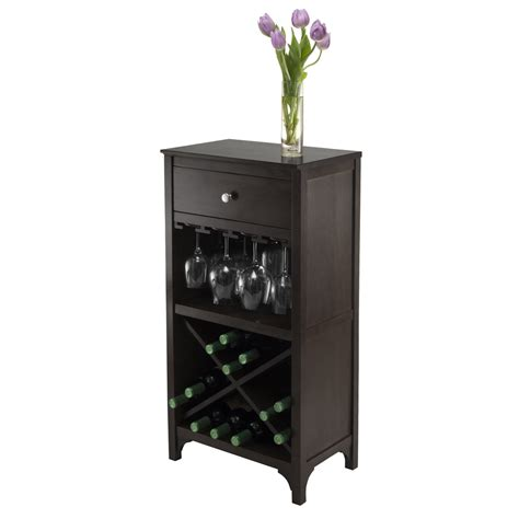 wine glass cabinet rack winsome wood ancona modular wine cabinet w one drawer