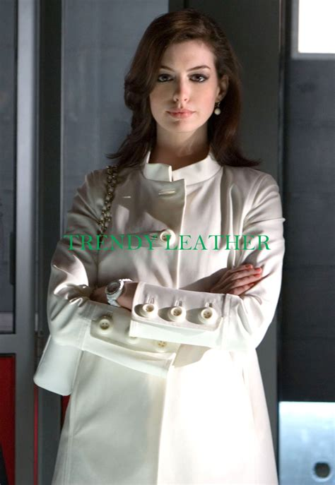 smart anne hathaway white long leather coatjacket