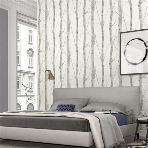Bedroom Wallpaper Range by Paradisio White Grey Birch Tree Wallpaper