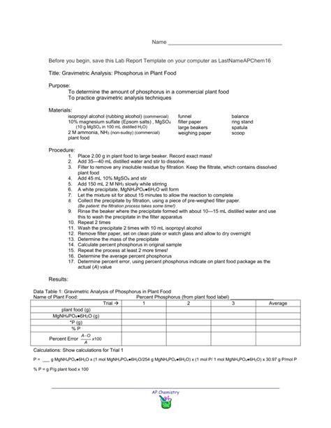 Lab 16: Gravimetric Analysis