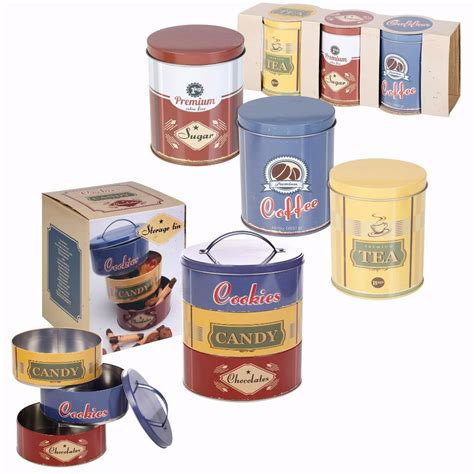 kitchen storage tin set set of metal cookie biscuits tea coffee sugar canister tin 6198