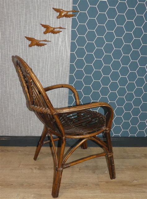 rattan wicker decorative side chair 1970s for sale at