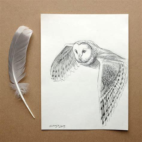 flying barn owl drawing a5 original pencil drawing barn owl flying folksy