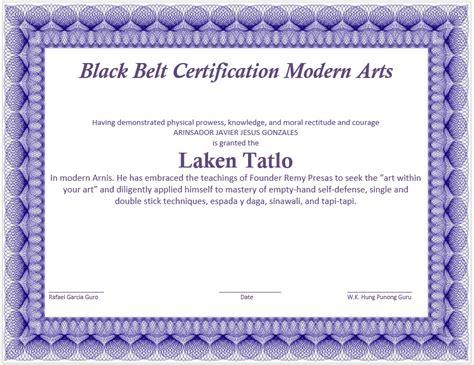 martial art certificate template microsoft word templates