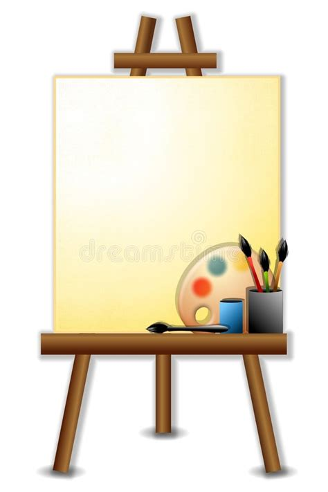painters canvas easel brushes stock illustration image