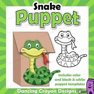 snake puppet printable paper bag puppet template fun With snake puppet template