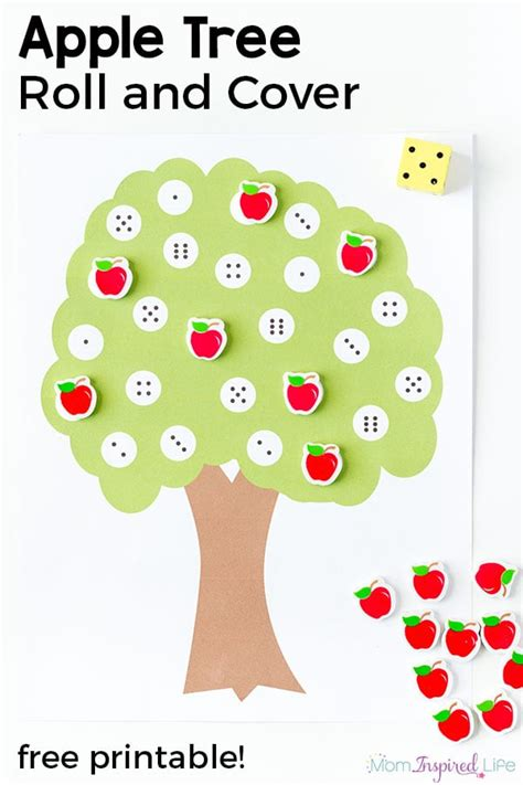 seasonal and activities and crafts for 958 | Apple Tree Roll and Cover the Numbers Game Feature