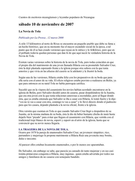 Cuentos De Escritores Nicaragüenses Y Leyendas Populares
