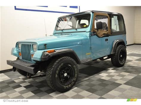 white and teal jeep 1995 teal pearl jeep wrangler s 4x4 62758206 photo 3