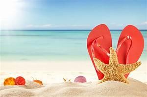 Pictures Starfish Flip-flops Beach Nature Summer Sand