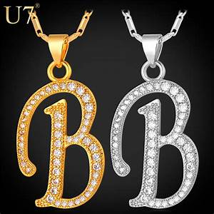 u7 alphabet b letter pendant necklace women men jewelry With gold letter pendants for men