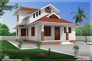 1364 sqfeet sloping roof villa design home sweet home for House roof design