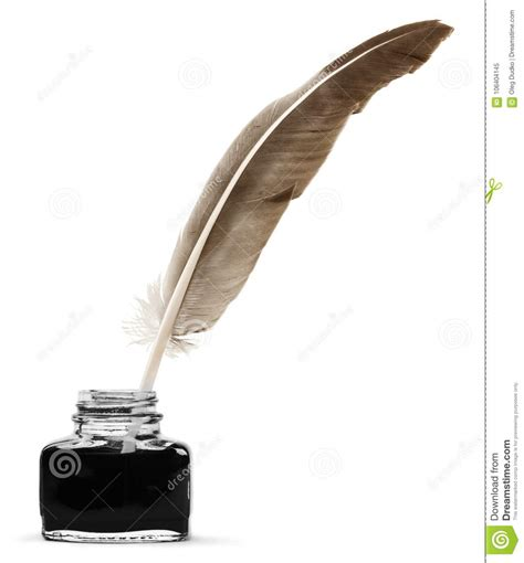 feather quill   glass inkwell isolated   stock