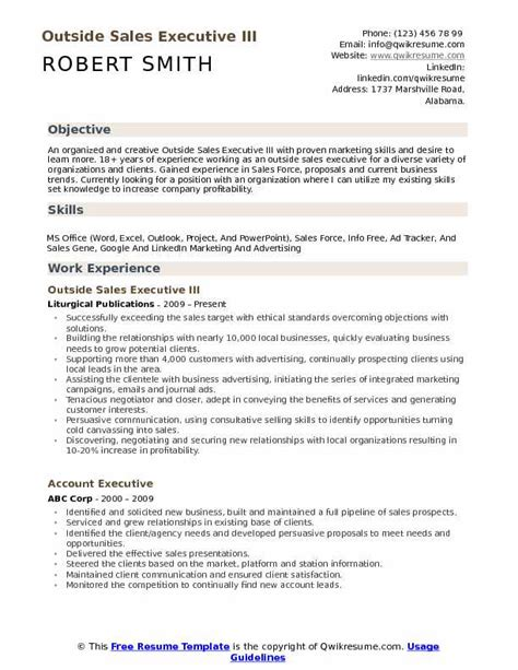 Accounting Resume Sles Canada by Outside Sales Executive Resume Sles Qwikresume