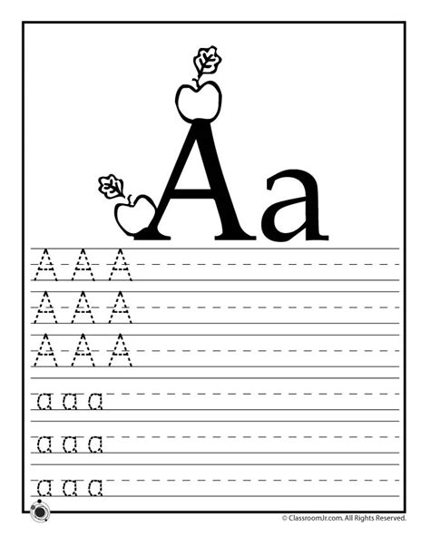 learning abc s worksheets woo jr activities 696 | letter a practice