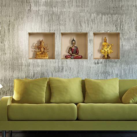 Drei De Tapeten by Sch 246 N G 252 Nstig 3d Wandtattoo Buddha Drei Gitter Design Pvc