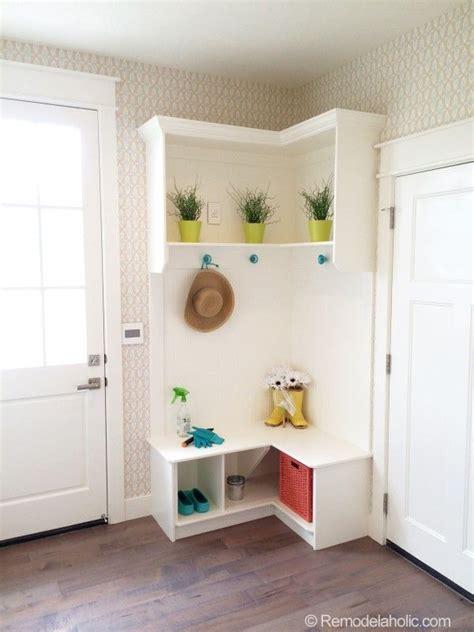 Corner Entryway Storage - small corner mudroom mudrooms corner furniture
