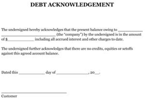sample debt acknowledgement small business  forms