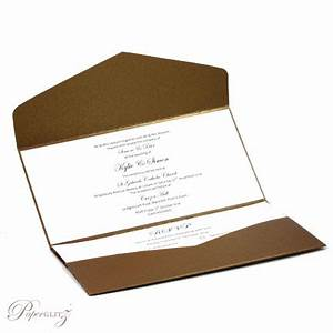 wedding invitations dl pouch pocket fold metallic bronze With dl pocketfold wedding invitations