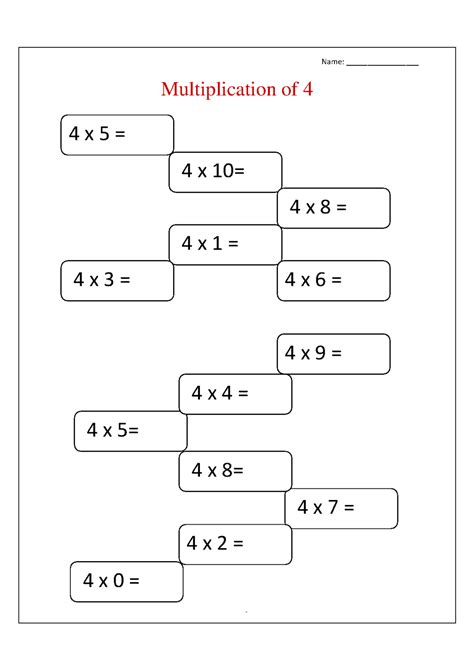 4 times table multiplication worksheets times table