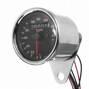 12v Universal Motorcycle Speedometer Odometer Gauge Dual Speed Meter With Led Indicator