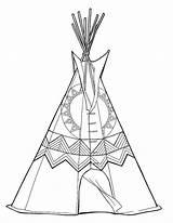 Teepee Colouring Printable Coloring Digital sketch template
