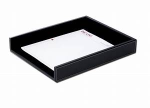 a1201 rustic black leather letter tray With leather letter tray