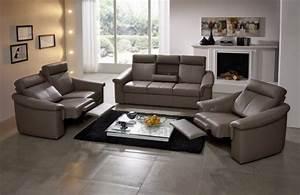 Salon En Cuir : salon complet lectrique relax en cuir johnjohn ~ Teatrodelosmanantiales.com Idées de Décoration
