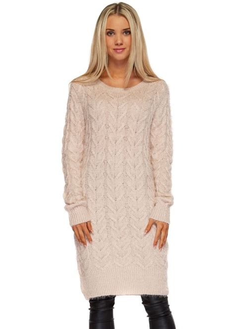 Baby Pink Cable Knit Jumper Dress - Pink Oversized Slouch ...
