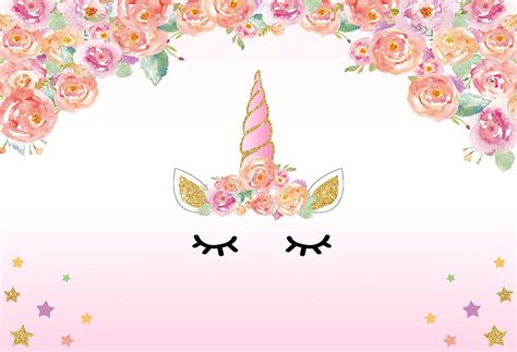 7x5FT Light Pink Floral Flowers Unicorn Face Mask Eyes
