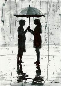 Print art canvas christmas gift poster watercolor Umbrella ...