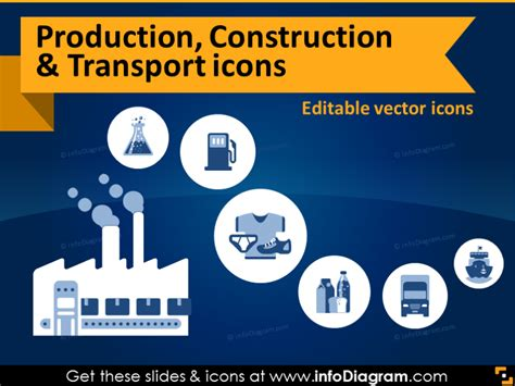 production industry icons  construction transport